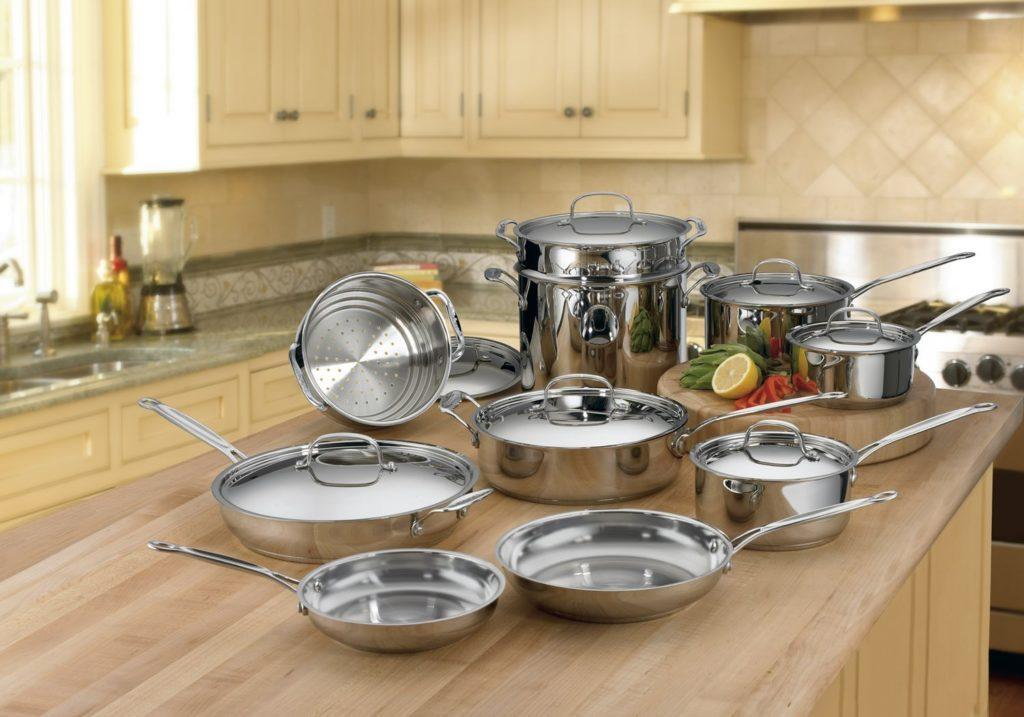 Нержавеющая посуда в интерьере